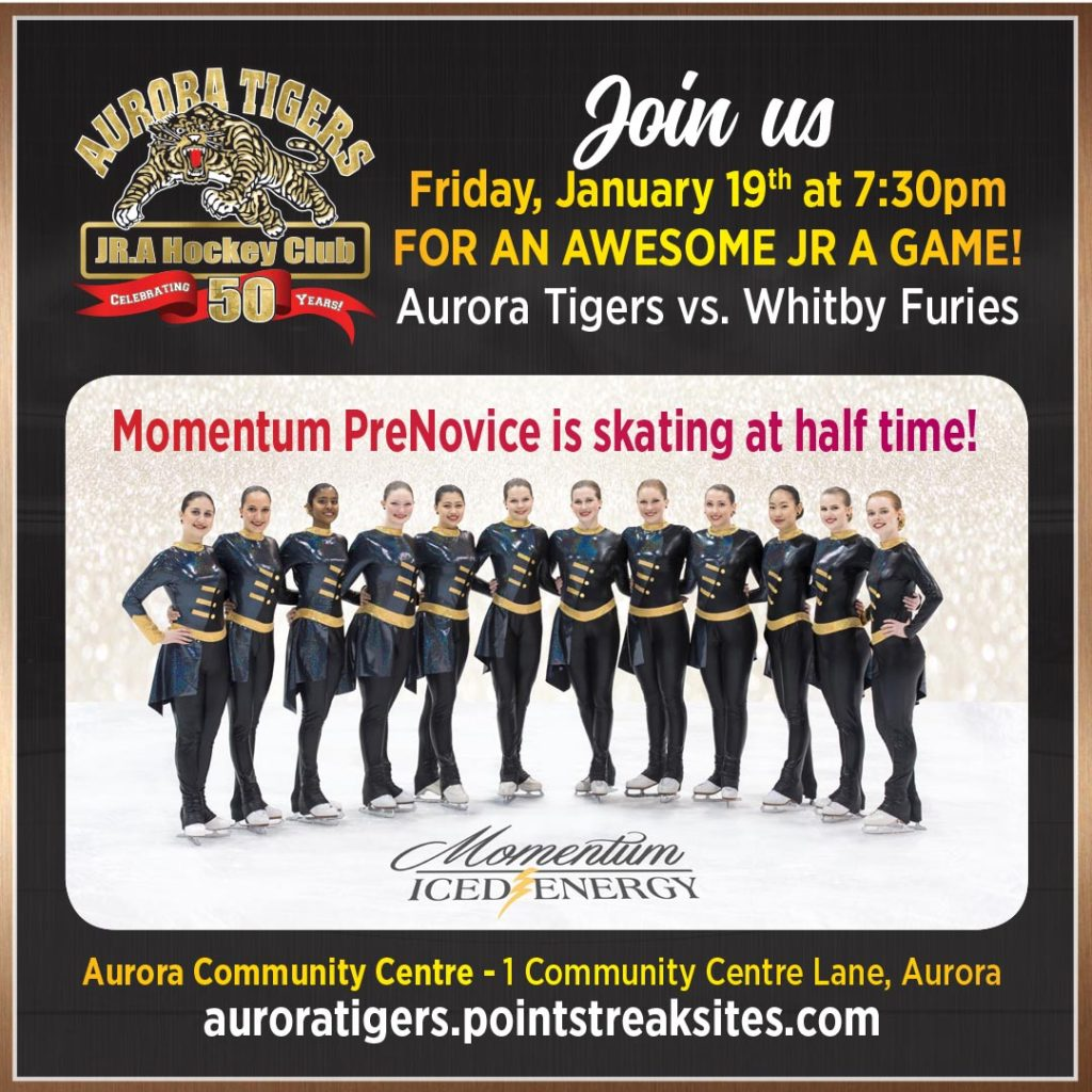 Aurora Tigers JR A Game - Momentum skates half time! @ Aurora Community Centre