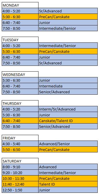 NSC Spring 2020 Schedule