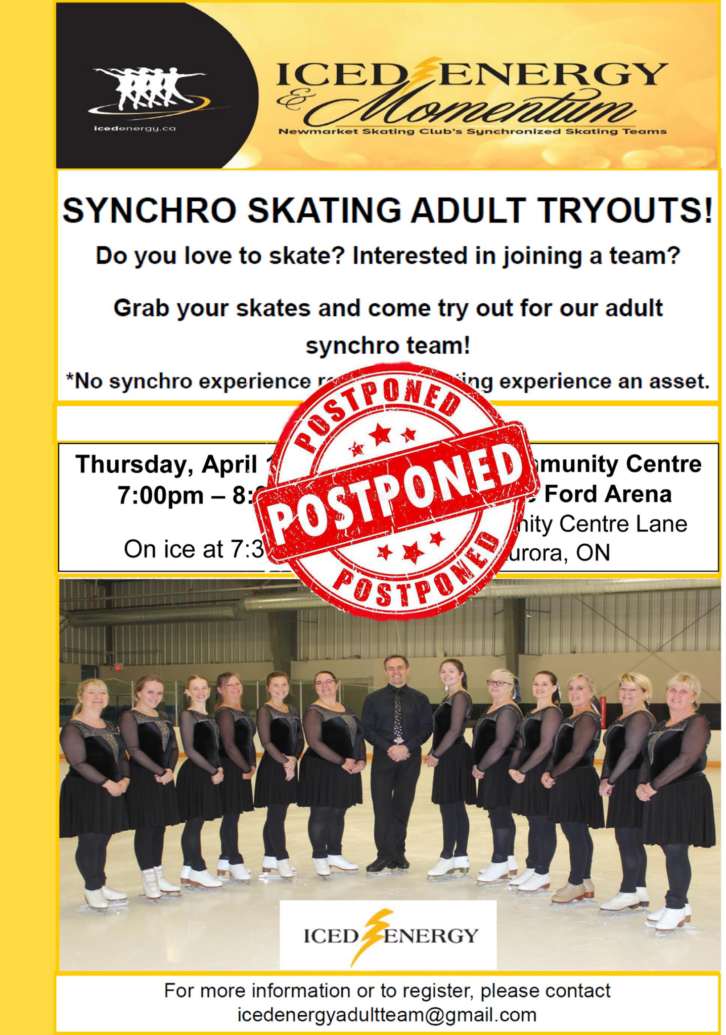 Iced Energy Try Outs Apr 2020 - Postponed