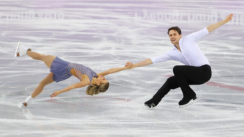 Michael Marinaro and partner Kirsten Moore-Towers performing at the Winter Olympics in February. Skate Canada/Greg Kolz